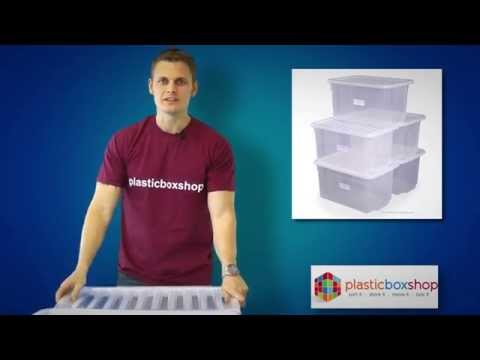 (Pack of 5) 50 Litre Uni Plastic Storage Box with Lid