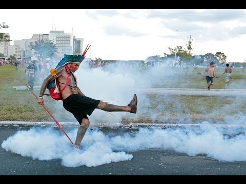 Storm in World Cup: Tear gas as Brazil tribes clash with police