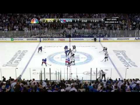 Carl Hagelin backhand goal 2-1. Rask trips. May 23 2013 Boston Bruins vs NY Rangers NHL Hockey.