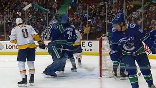 Canucks' Nilsson smashes goalie stick after Predators score sixth goal