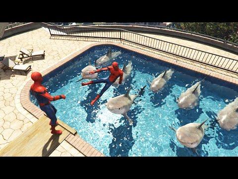 GTA 5 Crazy Water Ragdolls/Spiderman #2 (GTA V, Euphoria Physics, Funny Moments)