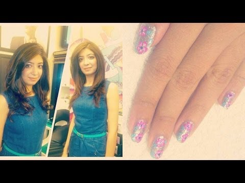 Hair Vlog - Juice Salon & Nail Bar - Glitter Floral Nail Art, Haircut, Blonde Highlights, Hairstyles