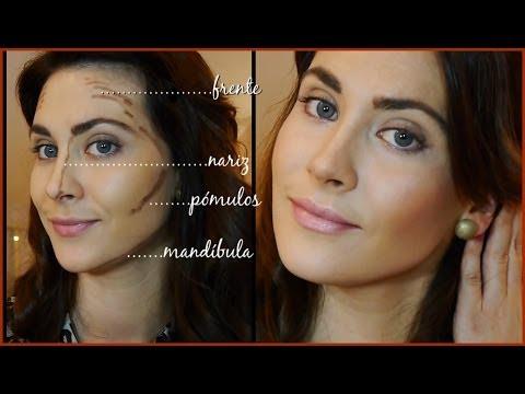 Como contornear e iluminar el rostro.(Afinar los rasgos/nariz). How to contour & highlight.
