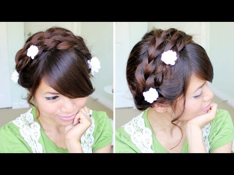 Summer Milkmaid Braided Updo Hairstyle for Medium Long Hair Tutorial