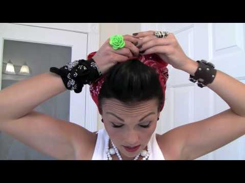 semi mohawk hairstyle : Pin-Up Hair Do - Rosie the Riveter Bandana Kandee Johnson - YouTube