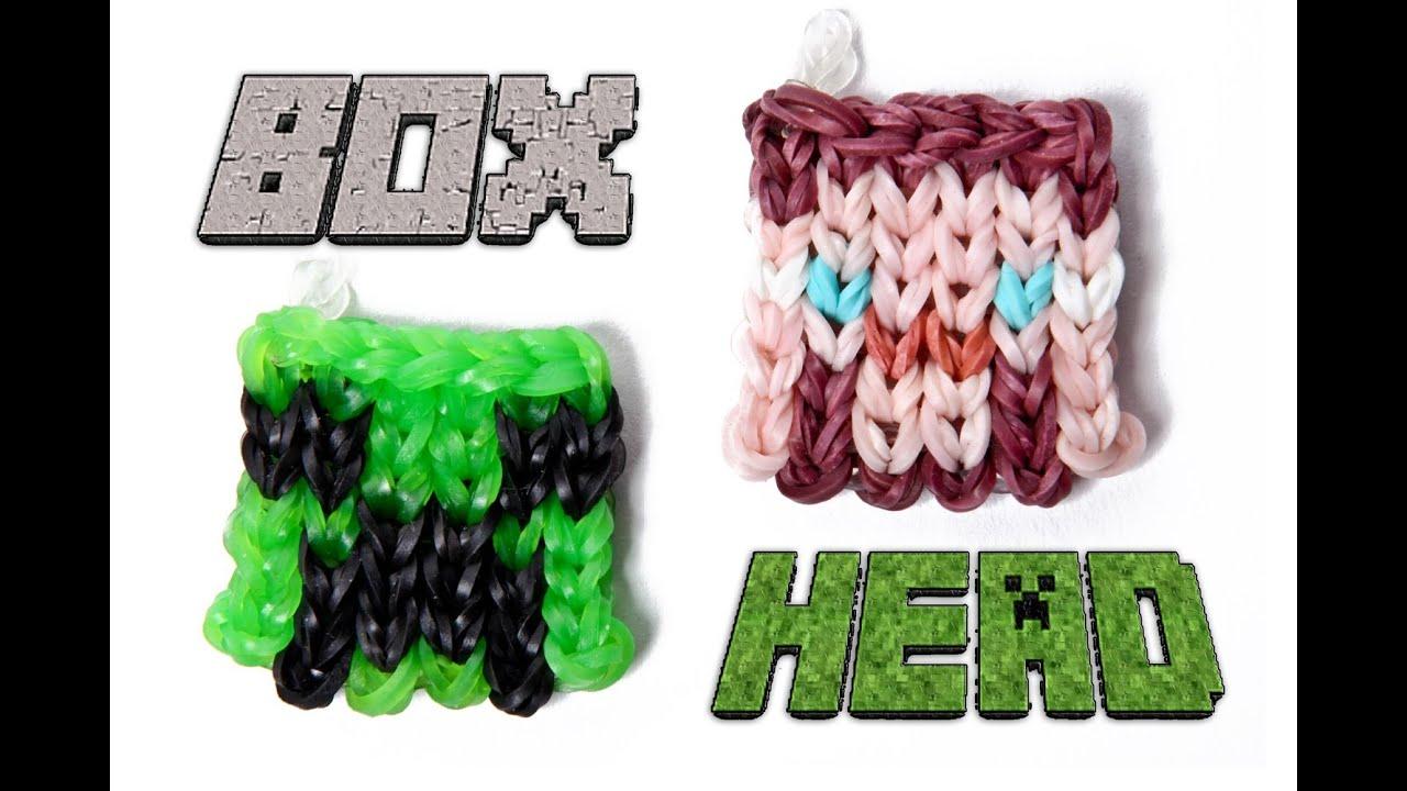 Rainbow Loom Box Head Charm Tutorial - Minecraft Steve Or Creeper Head
