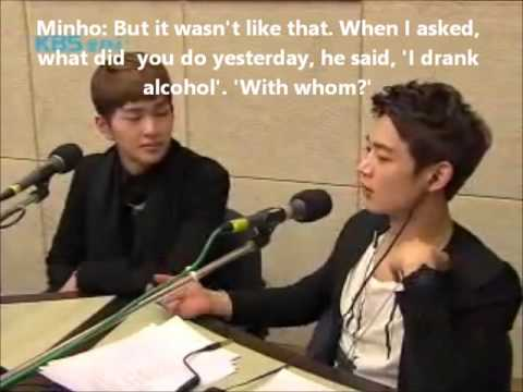 [ENG SUB] SHINee - Onew drinks alcohol alone, Key defends him from Minho (cut)