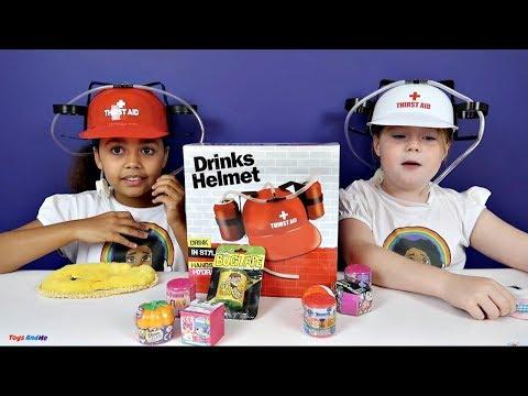 Soda Challenge! Drinks Helmet Guessing Game!