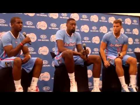 Chris Paul, DeAndre Jordan and Blake Griffin Media Day 2013 Pt  1