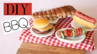 Backyard BBQ Polymer Clay Food Tutorial RIbs, Hot Dogs