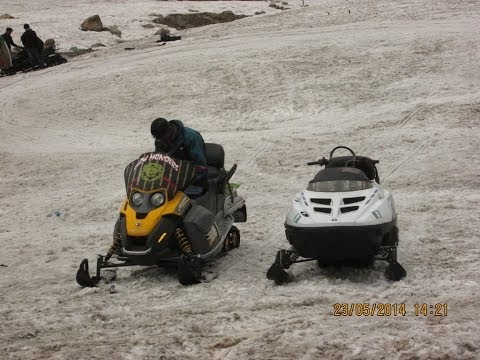 Ski-Doo And Polaris Snow Mobiles At Gulmarg, Kashmir, India HD Video