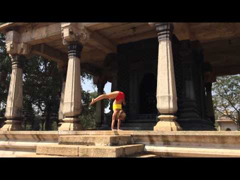 India Temple Yoga Handstand Straddle Press with Kino