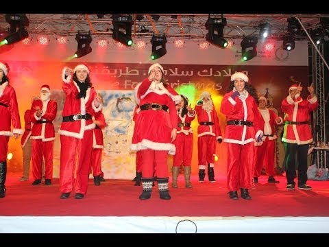 Santas dance in Bethlehem for Christmas 2013