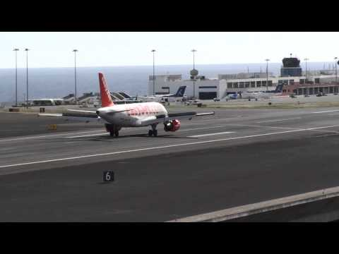Easyjet Airlines Airbus landing at Madeira Airport