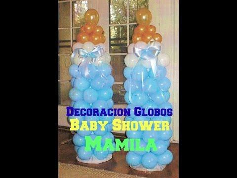 Decoraci 243 n de globos baby shower mamila econ 243 mico y f 225 cil
