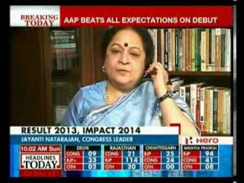 Congress behind AAP in Delhi: Jayanthi Natarajan reacts