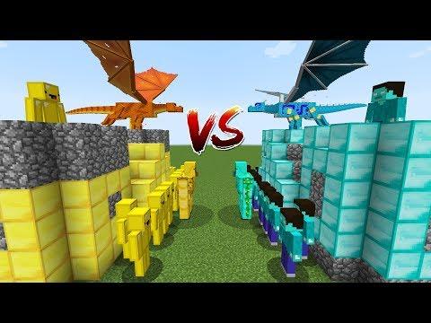 Castle Gold Dragon VS Castle Diamond Dragon! Minecraft funny Battle