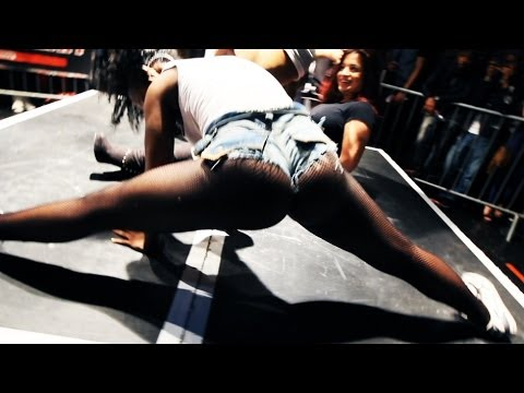 Two girls twerking on each other