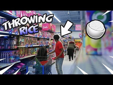 Throwing Rice at Strangers Prank in Walmart!!!!!