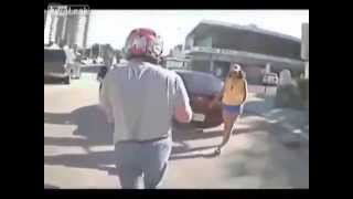 [Motorcycle bike and other vehicle accidents caught on traffi...]