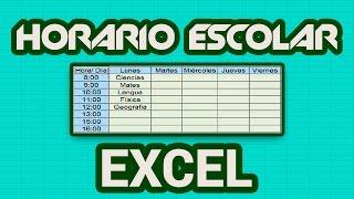 Cómo Hacer Un Horario Escolar En Microsoft Excel