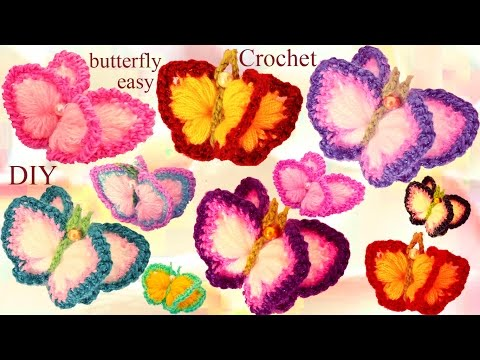 Aprende Como tejer a Crochet fácil  Mariposas en 3D con alas de Colores- How to Crochet butterfly