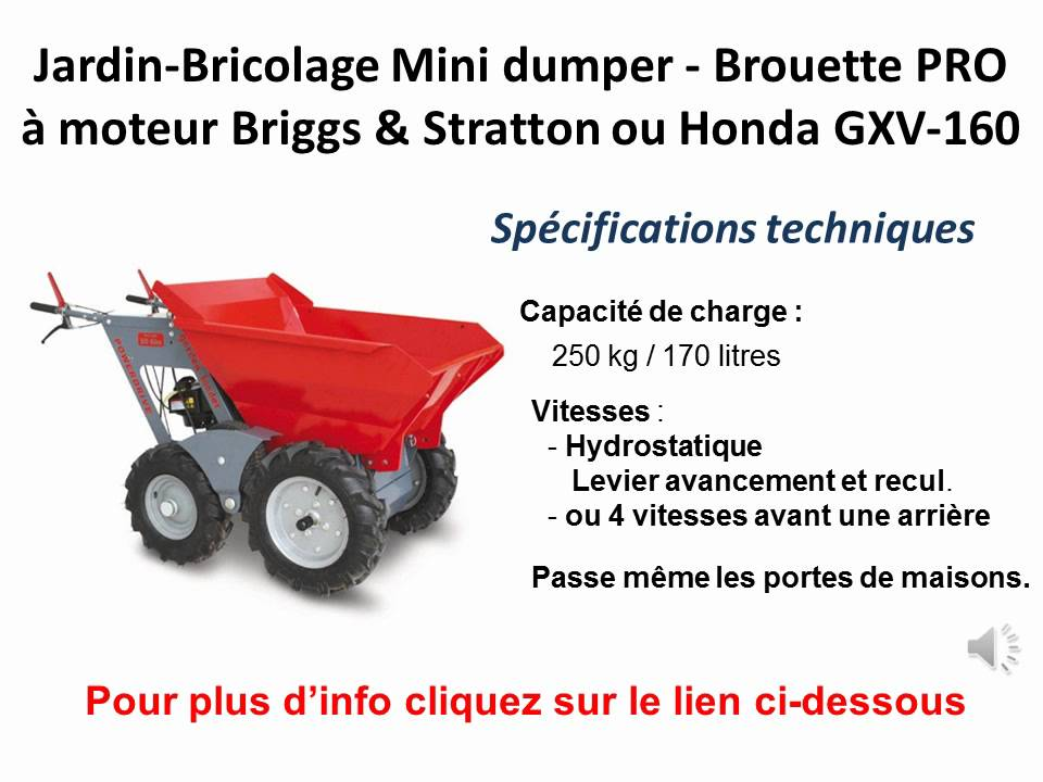 jardin bricolage mini dumper brouette pro moteur youtube. Black Bedroom Furniture Sets. Home Design Ideas