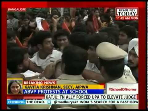Furious B'lore parents & AVBP members protest at school gate