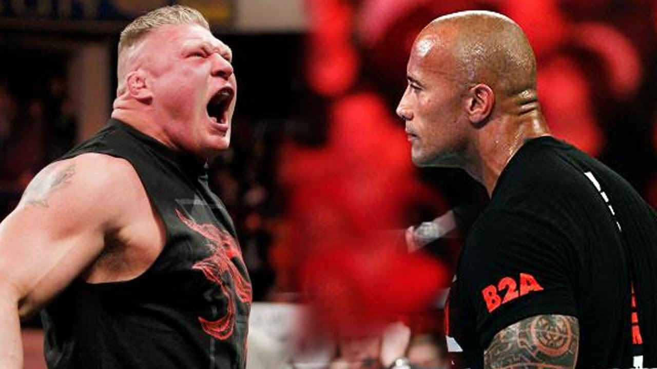 WWE WrestleMania 30 The Rock vs Brock Lesnar - YouTube