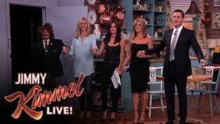Jennifer Aniston, Courteney Cox, Lisa Kudrow and Jimmy Kimmel in