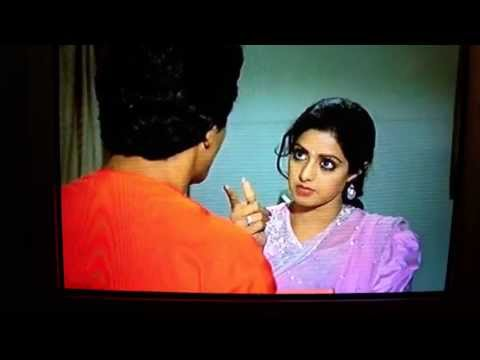 Sridevi teases Dan, Mithun treathens and Sridevi laughs very naughty