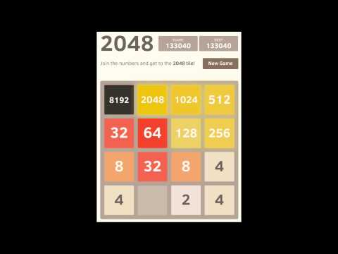 2048 game - 8192 and 4096 tile - high score 153,256