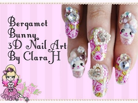 3d Japanese Nail Art Bunnies And Flowers By Clara H Nails Nail
