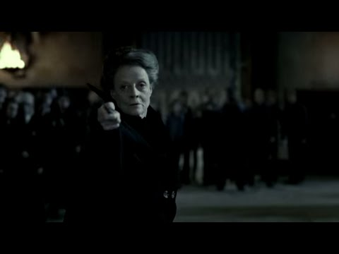 Professor McGonagall fights Snape.,