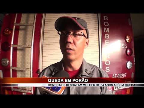 20/08/2019 - Bombeiros resgatam mulher de 64 anos após queda em porão em Barretos