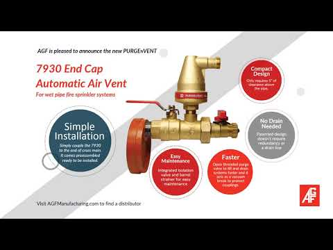 7930 End Cap Automatic Air Vent - PURGEnVENT for Wet Fire Sprinkler Systems