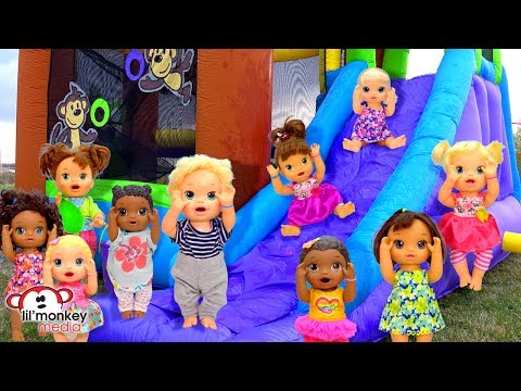 🌈 Baby Alive Playdate Fun!  Bounce House, Playpark & Water Balloons! 💦