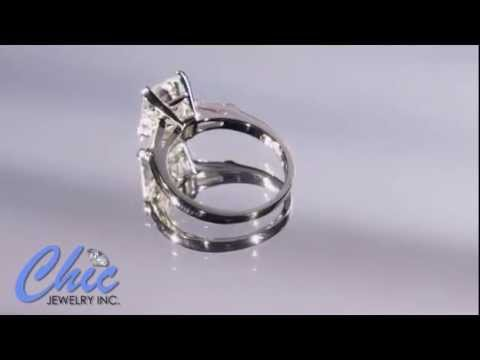 Elegant Emerald cut cubic zirconia ring in 14k white gold   402 7013
