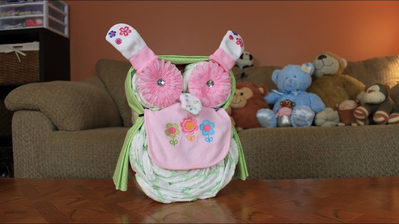 owl diaper cake instructions