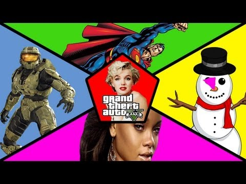 "GTA 5 - Five Random Easter Eggs ""HALO, SUPERMAN, RIHANNA"" & More (GTA V Secrets)"