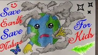 How To Draw Save Earth Save Water Easy Drawing For Kids Save Earth