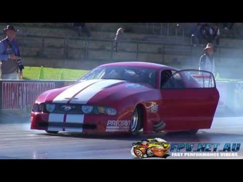 GAS MOTORSPORT TWIN TURBO V8 MUSTANG 6.89 @ 154 MPH WITH AN EARLY SHUT OFF SYDNEY DRAGWAY 18.5.2013