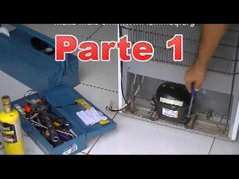 Como trocar compressor (motor) de geladeira - parte 1