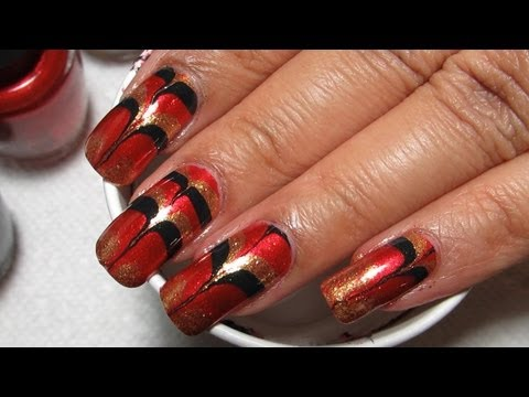 Christmas Inspired Skyfall Water Marble Nail Art Tutorial, I realized this would also be a great design for my MN Wild hockey team - if they weren't on strike & if I actually gave a crap about hockey LOL Nail polish ...