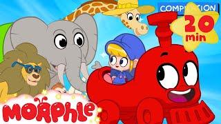 My Magic Animal Train - My Magic Pet Morphle episodes for kids. (Lion, Monkey, Giraffe and Elephant)
