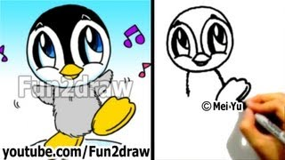 How to Draw a Cartoon Baby Penguin