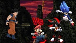 SSBB Dolphin Emulated: Goku Vs Sonic Vs Shadow Vs Mario