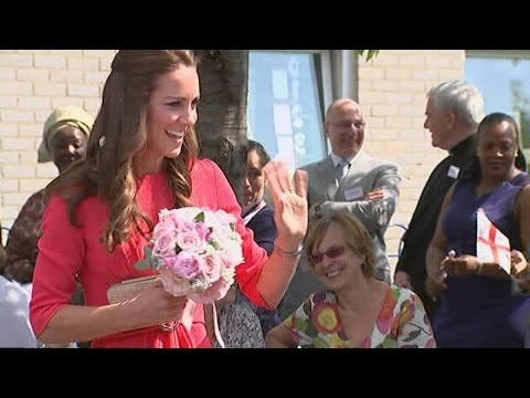 Duchess of Cambridge is pretty in pink as she visits school in London