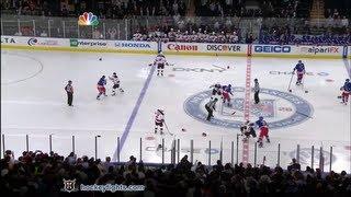 Devils vs Rangers start of game line brawl Mar 19, 2012. view on youtube.com tube online.