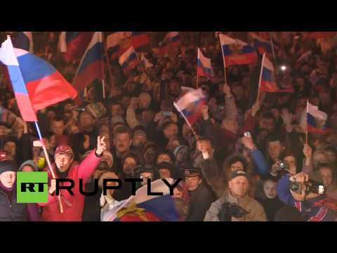 'We're coming home!' Crimea celebrates after 97% vote for joining Russia